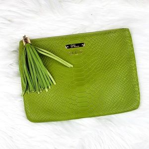 Gigi New York ALL IN ONE BAG Lime Embossed Python